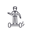 man on gyroscooter concept thin line icon vector image