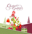 merry christmas card with christmas trees vector image vector image