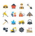 mining and quarrying icons in flat style vector image