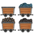 mining carts with stones and bombs vector image vector image