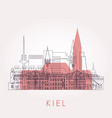 outline kiel skyline with landmarks vector image vector image