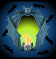 poster in style of halloween holiday evil glow vector image