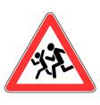 roadsigns beware children vector image vector image