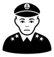 sad military captain black icon vector image vector image