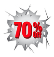 Sale 70 percent on Hole cracked white wall vector image vector image