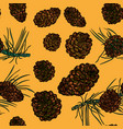 seamless pattern with with pinecones vector image