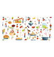 set of oversize dish and tiny people vector image vector image