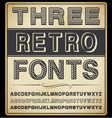 set three vintage fonts vector image