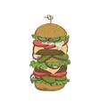 sketch hand drawn hamburger vector image vector image