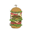 sketch hand drawn of hamburger vector image vector image