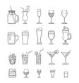 sketch set alcohol soft drinks and cocktails vector image vector image