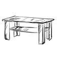 table drawing on white background vector image vector image