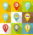 tags icons set flat style vector image