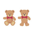 teddy bear sitting and standing flat christmas vector image