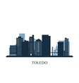 toledo skyline monochrome silhouette vector image vector image