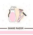 two shave razors and cream for shaving vector image vector image