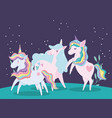 unicorns rainbow mane fantasy magic lovely cartoon vector image vector image