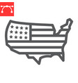 usa map line icon country and flag american