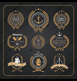 Vintage nautical wreath labels set on dark wood vector image vector image