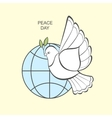White dove with an olive branch and globe vector image
