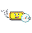 with clock ticket character cartoon style vector image