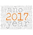 Word cloud 2017 in different languages vector image vector image