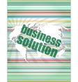 words business solution on digital screen vector image vector image