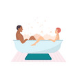 young naked couple sitting in bathtub full of soap vector image