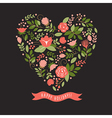 floral heart on a black background vector image