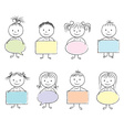 kids bubbles in hands chalky vector image