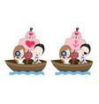 pirate wedding cartoon with sea theme vector image