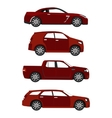 set of red cars vector image