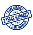 2 years warranty blue round grunge stamp vector image vector image