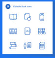 9 book icons vector image vector image