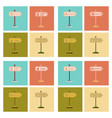 assembly flat icons school stop pharmacy cafe vector image vector image