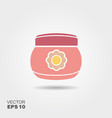 bacream jar flat icon with shadows vector image