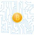 bitcoin on the motherboard vector image