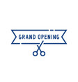 blue grand opening thin line icon vector image