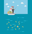 businessman with idea fishing money vector image vector image