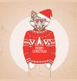 christmas hipster fashion animal fox vector image vector image