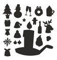 christmas icons silhouette holiday symbols vector image