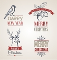 Christmas vintage concept with typography and vector image vector image
