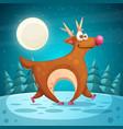 crazy deer cartoon winter landscape vector image
