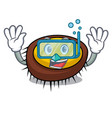 diving sea urchin character cartoon vector image