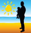 father with a baby on the beach vector image vector image