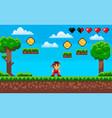 fighting game pixel character on scene arcade vector image vector image