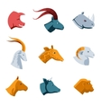 Flat Designs of Various Animal Head Icons vector image