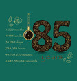 floral card number eighty five and pocket watch vector image