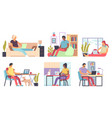 freelance people men and women working home vector image vector image