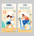 girl tennis player man riding exercise bike in gym vector image